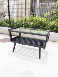 木製のレトロなガラストップローテーブル