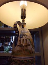 イタリアハンドペイント陶器シェードランプ