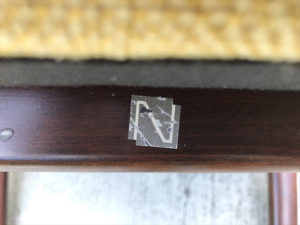 ヴィンテージアームチェア 日進木工ロゴ
