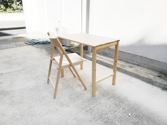 無印良品パイン材テーブルとブナ材チェアセット