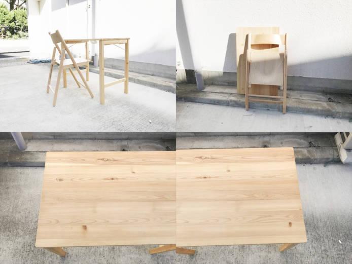 無印良品パイン材テーブルとブナ材チェアセット詳細画像5
