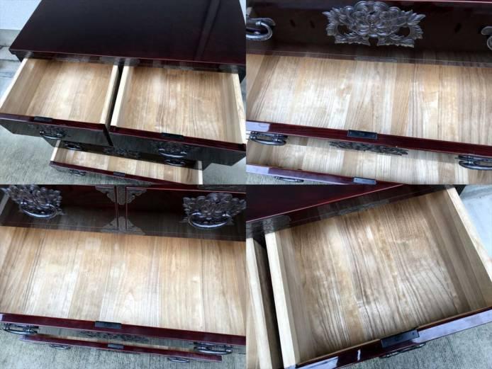 岩谷堂整理箪笥木地呂塗り菊広銅手打ち金具詳細画像3