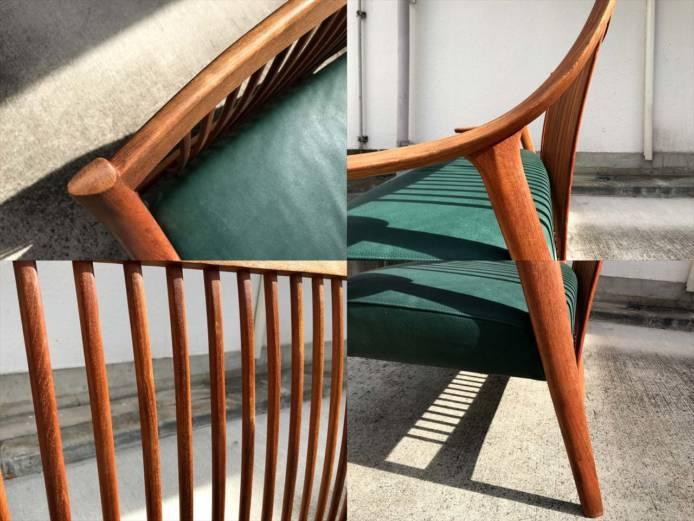 BC工房長椅子ソファチーク材フレーム詳細画像2