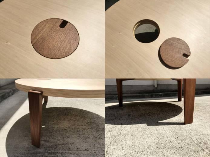 日進木工テーブルリビングラウンド作業用可詳細画像2