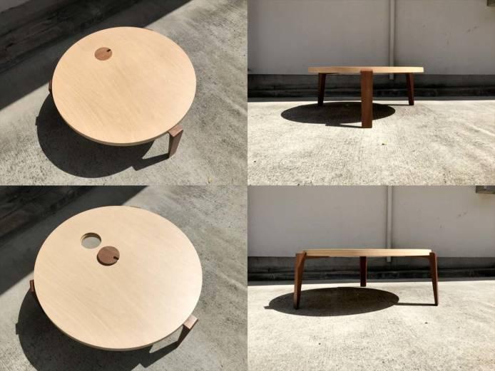 日進木工テーブルリビングラウンド作業用可詳細画像4