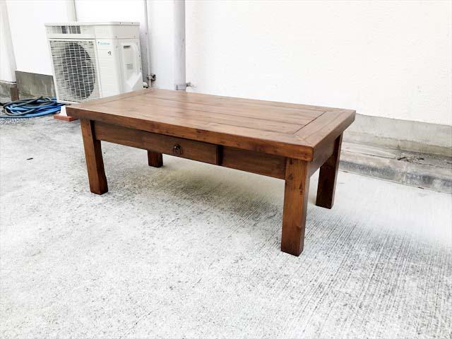 イデーリビングテーブルチーク無垢材引き出し付き