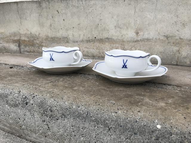 マイセンカップ&ソーサー双剣マークオーキッド